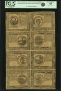 Colonial Notes:Continental Congress Issues, Continental Currency Feb. 26, 1777 Uncut Single Pane Sheet of$30-$2-$3-$4/$8-$7-$6-$5 Blue Counterfeit Detector Notes Fr. CC-...