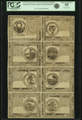 Colonial Notes:Continental Congress Issues, Continental Currency July 22, 1776 Uncut Single Pane Sheet of$30-$2-$3-$4/$8-$7-$6-$5 Blue Counterfeit Detector Notes Fr. CC-...