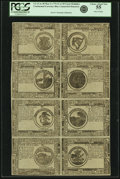 Colonial Notes:Continental Congress Issues, Continental Currency May 9, 1776 Uncut Single Pane Sheet of $1-$2-$3-$4/$8-$7-$6-$5 Blue Counterfeit Detector Notes Fr. CC-31D...