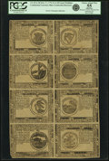 Colonial Notes:Continental Congress Issues, Continental Currency February 17, 1776 Uncut Single Pane Sheet of$1-$2-$3-$4/$8-$7-$6-$5 Blue Counterfeit Detector Notes Fr. ...