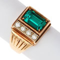 Estate Jewelry:Rings, Synthetic Emerald, Diamond, Gold Ring. ...