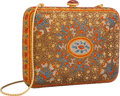 Luxury Accessories:Bags, Judith Leiber Full Bead Orange & Brown Crystal Medieval CarpetMinaudiere Evening Bag. Excellent to Pristine Condition. ...