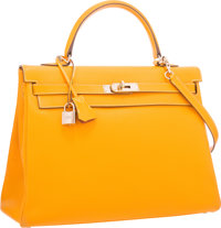 Hermes Limited Edition Candy Collection 35cm Jaune d'Or & Potiron Epsom Leather Retourne Kelly Bag with Permabrass H...