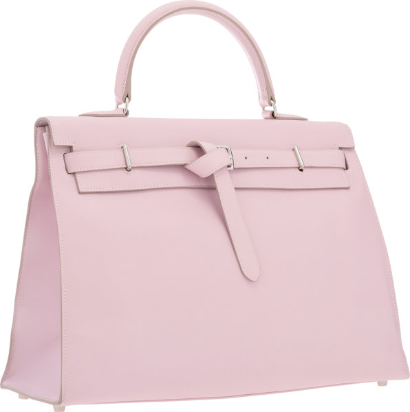 fe23b598d1 Hermes 35cm Rose Dragee Swift Leather Kelly Flat Bag with