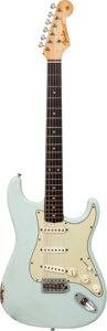 Musical Instruments:Electric Guitars, 1963 Fender Stratocaster Sonic Blue Solid Body Electric Guitar,Serial # 93726....