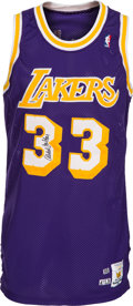 Basketball Collectibles:Uniforms, 1988-89 Kareem Abdul-Jabbar Game Worn & Signed Los AngelesLakers Jersey.. ...