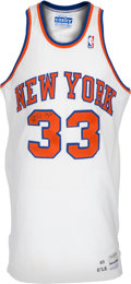Basketball Collectibles:Uniforms, 1990-91 Patrick Ewing Game Worn, Signed New York Knicks Jersey....