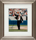 Baseball Collectibles:Photos, 1998 Joe DiMaggio Signed Full Name Photograph - Last First Pitch atYankee Stadium. ...