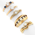 Estate Jewelry:Rings, Diamond, Sapphire, Gold Rings. ... (Total: 6 Items)