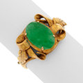 Art Glass:Daum, Jadeite Jade, Gold Ring. ...