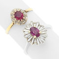 Estate Jewelry:Rings, Ruby, Diamond, Platinum-Topped Gold, White Gold Rings. ... (Total:2 Items)