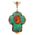 Estate Jewelry:Pendants and Lockets, Amber, Turquoise, Sterling Silver Pendant, David Troutman. ...