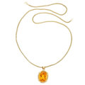 Estate Jewelry:Necklaces, Citrine, Diamond, Gold Pendant-Necklace. ...