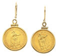 Estate Jewelry:Earrings, Gold Coin, Gold Earrings. ... (Total: 2 Items)