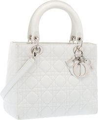 Christian Dior White Quilted Cannage Leather Lady Dior MM Tote Bag with Silver Hardware Very Good Condition 9.5