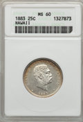 Coins of Hawaii , 1883 25C Hawaii Quarter MS60 ANACS. NGC Census: (6/910). PCGSPopulation (7/1210). Mintage: 242,600. ...