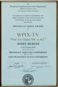Baseball Collectibles:Others, 1984 Bobby Murcer Pine Tar Game Broadcast Media Award from TheBobby Murcer Collection. ...
