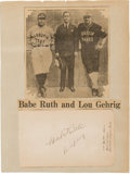 Baseball Collectibles:Others, 1927 Babe Ruth & Lou Gehrig Signed Album Page....