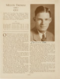 "Baseball Collectibles:Others, 1933 Mel Ott Signed ""Who's Who in Baseball"" Page...."