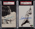 Baseball Collectibles:Photos, Signed Joe DiMaggio Photo & Ted Williams Post Card Pair (2)....