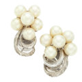 Estate Jewelry:Earrings, Cultured Pearl, White Gold Earrings. ... (Total: 2 Items)