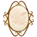 Estate Jewelry:Brooches - Pins, Shell Cameo, Yellow Metal Brooch. ...