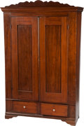Antiques:Decorative Americana, Mid 19th Century Texas Walnut & Pine Two Drawer Wardrobe,...