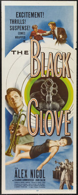 "The Black Glove (Lippert Pictures, Inc., 1954). Insert (14"" X 36""). No, it's not the O.J. Simpson story. Alex..."