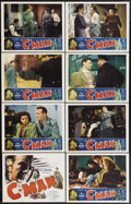 "Movie Posters:Crime, C-Man (Film Classics, Inc., 1949). Lobby Card Set of 8 (11"" X 14"").A smuggling ring costs a Treasury Department agent his l... (Total:8 Items)"
