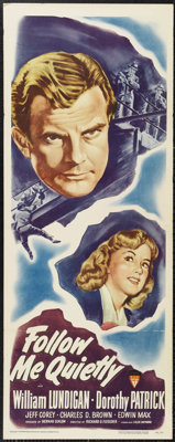 """Follow Me Quietly (RKO, 1949). One Sheet (27"""" X 41""""). William Lundigan stars as a cop obsessed with the captur..."""