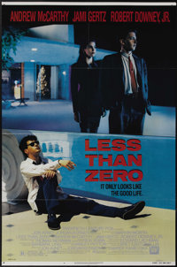 "Less Than Zero (20th Century Fox, 1987). One Sheet (27"" X 41""). Robert Downey, Jr. stars in this too close to..."