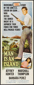"Movie Posters:War, No Man Is an Island (Universal International, 1962). Insert (14"" X36""). Jeffrey Hunter stars as George Tweed, the only Amer..."
