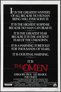 "The Omen (20th Century Fox, 1976). One Sheet (27"" X 41""). Gregory Peck and Lee Remick star in the horror story..."