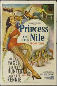 "Princess of the Nile (20th Century Fox, 1954). One Sheet (27"" X 41""). This escapist adventure stars a scantly..."