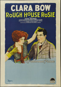 "Rough House Rosie (Paramount, 1927). One Sheet (27"" X 41""). Clara Bow's popularity soared in 1927 after she st..."