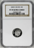 Proof Roosevelt Dimes: , 2000-S 10C Silver PR70 Deep Cameo NGC. NGC Census: (515/0). PCGSPopulation (60/0). Numismedia Wsl. Price: $200. (#95291)...