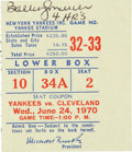 Baseball Collectibles:Tickets, 1970 Bobby Murcer Signed Ticket from Four-Home Run Doubleheader....