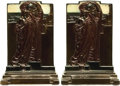 Books:Furniture & Accessories, [Bookends]. Pair of Matching Bronze Bookends Depicting Adoration. Pompeian Bronze Co., 1925.... (Total: 2 Items)