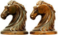Books:Furniture & Accessories, [Bookends]. Pair of Matching Metal Bookends Depicting Horse Heads.Unsigned, undated.... (Total: 2 Items)
