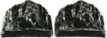 Books:Furniture & Accessories, [Bookends]. Pair of Matching Metal Bookends Depicting Seated Lions.Unsigned, undated.... (Total: 2 Items)