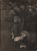 Photographs:Platinum, Eva Watson-Schutze (American, 1867-1935). Untitled (Two Little Girls in the Garden), circa 1905. Platinum. 13-3/4 x 9-7/...