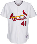 Baseball Collectibles:Uniforms, 2004 Yadier Molina Game Worn St. Louis Cardinals Jersey with Heavy Wear. ...