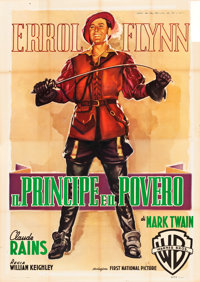 "The Prince and the Pauper (Warner Brothers, R-1951). Italian 4 - Fogli (55"" X 78"") Luigi Martinati Artwork..."
