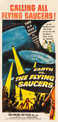 "Movie Posters:Science Fiction, Earth vs. the Flying Saucers (Columbia, 1956). Three Sheet (41"" X81"").. ..."
