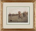 """Golf Collectibles:Miscellaneous, 1890's """"The Drive"""" Golf Print by Charles E. Brock...."""