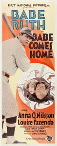 Baseball Collectibles:Others, 1927 Babe Comes Home Insert Movie Poster....