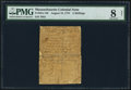 Colonial Notes:Massachusetts, Massachusetts August 18, 1775 2s PMG Very Good 8 Net.. ...
