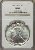 Modern Bullion Coins: , 1987 $1 Silver Eagle MS70 NGC. NGC Census: (524). PCGS Population (27). Numismedia Wsl. Price for problem free NGC/PCGS co...