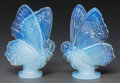 Art Glass:Other , Two Sabino Opalescent Glass Butterflies, Paris, France, post 1935.Marks to both: Sabino, Paris. 5-3/4 inches high (14.7...(Total: 2 Items)