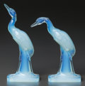 Art Glass:Other , A Pair of Sabino Opalescent Glass Herons, Paris, France,post 1935. Marks to both: Sabino, Paris. 8 inches h...(Total: 2 Items)